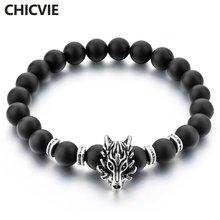 Chicvie новый черный волк голова Мужчины натуральный камень
