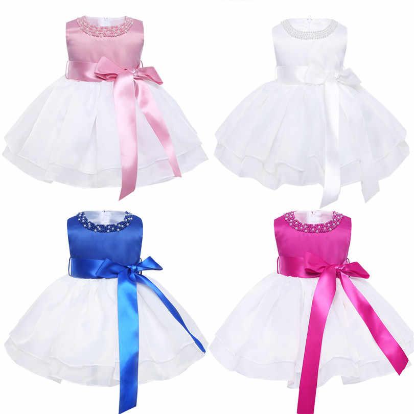 ccf641ff9e07 ... Flower Baby Girls Wedding Dress for kids 1 year Birthday dresses  Baptism newborn Girls clothing infant ...