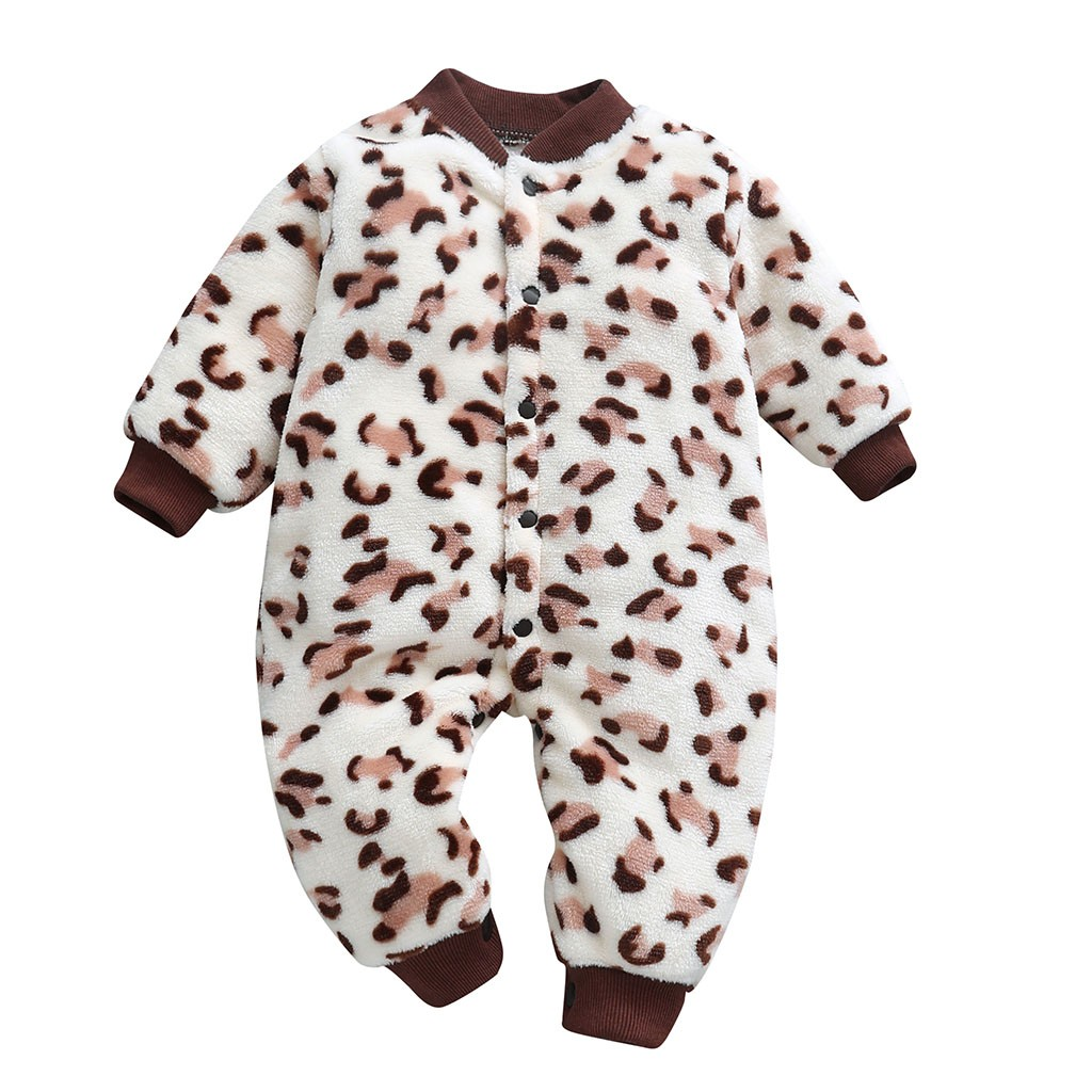Leopard Print Baby   Rompers   Winter Warm Fleece Clothing Set for Boys Cartoon Infant Girls Clothes Newborn Overalls Baby Jumpsuit