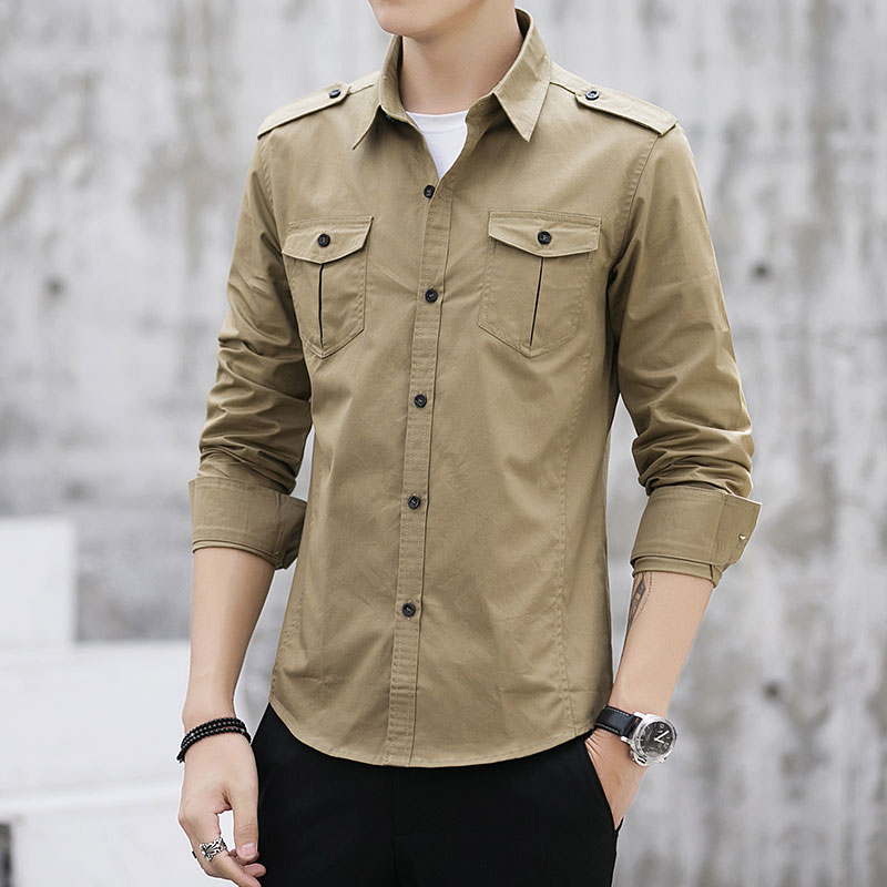 Man Shirt 2019 New Cotton Safari Style Fashion Solid High Quality Comfortable Long Sleeved Shirt Shoulder Strap Men Dress Shirts