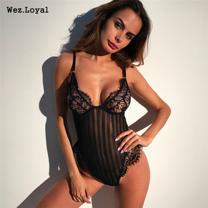 Wez.Loyal Sexy Lace Bodysuit 2018 Women Bandage Beach Bodysuits Spaghetti Strap See-through Backless Bodycon Body suit Sleepwear