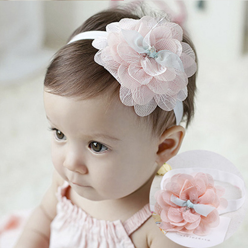 1PC New High Quality Cute Kids Headband Big Flowers Lace Newborn Elastic Hairbands Hair Accessories For Children Girls Headwear bebe girls flower headband four felt rose flowers head band elastic hairbands rainbow headwear hair accessories