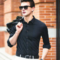 2016 New Fashion Design Men's Bamboo Shirts Business Pure Color Long Sleeve Dress Shirt