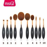 MSQ New Arrival 10pcs Tooth Brush Shape Oval Makeup Brush Set Multipurose Professional Foundation Powder Brush