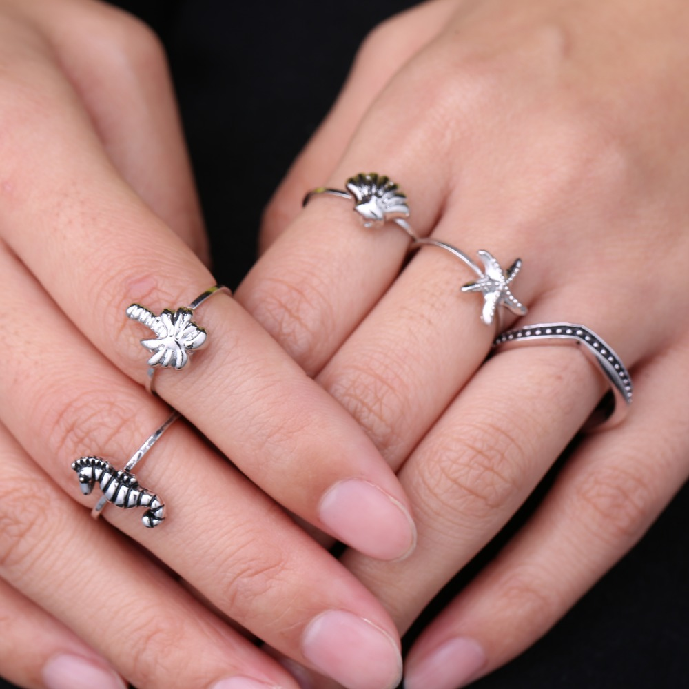 5 pcs/set rings for party Vintage Tibetan Silver Plated Ocean ...