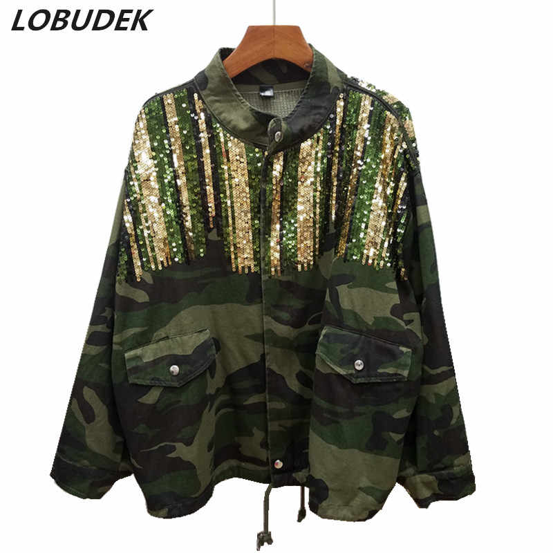 21543a0f7f6 4 Colors Women s Green Camouflage Coat Autumn Winter Tide Fashion Colorful  Sequins Loose Windbreaker Overcoat Trench