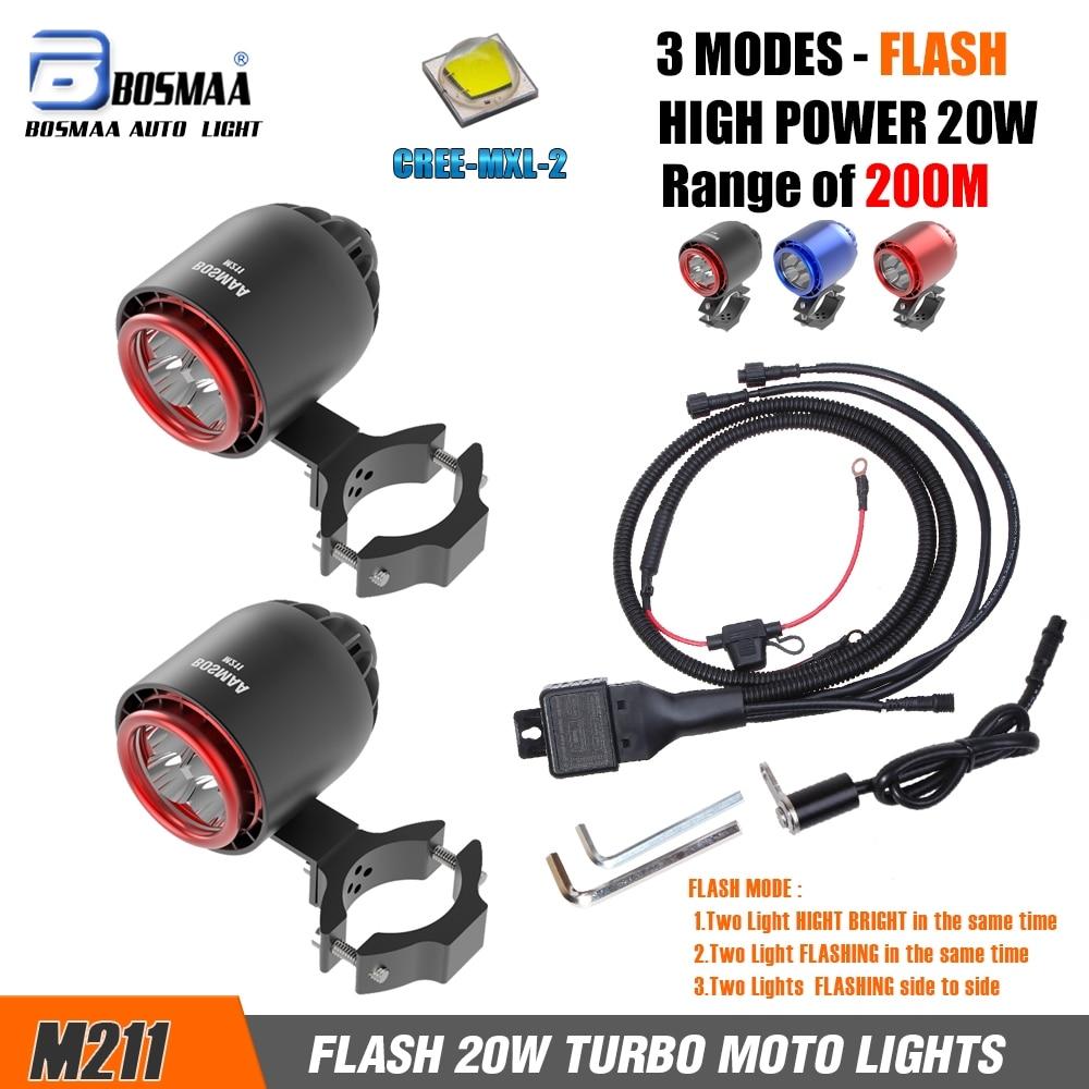 2xM211 20W 4800LM XM L2 LED TURBO Motorcycle LED Spotlight Auxiliary Motorcycle Fog Work Lights Lamp Supplementary Lighting UTV