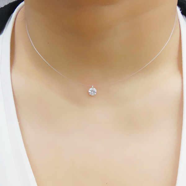 Модный горный хрусталь 925 пробы Серебряное ожерелье невидимая леска  простой кулон Горячая продажа женское циркониевое ожерелье d7ea603be5c