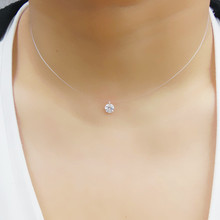 New 925 Silver Transparent Fishing Line Necklace Clear Zircon Pendant Sparkling Choker Necklace Hot Selling Women Jewelry