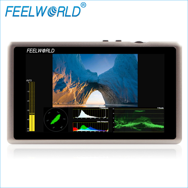 Feelworld G55 Aluminum 5.5 Inch Full HD IPS Field Monitor with Waveform Vectorscope Histogram HDMI 3G-SDI DSLR External Monitors