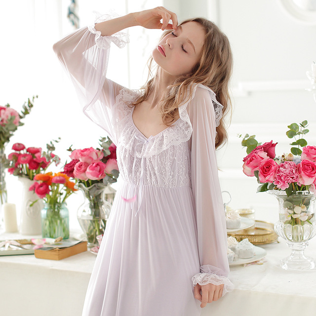 Buy Vintage Royal Nightgown Sleepwear Women Spring Summer Sexy Lace Nightgown