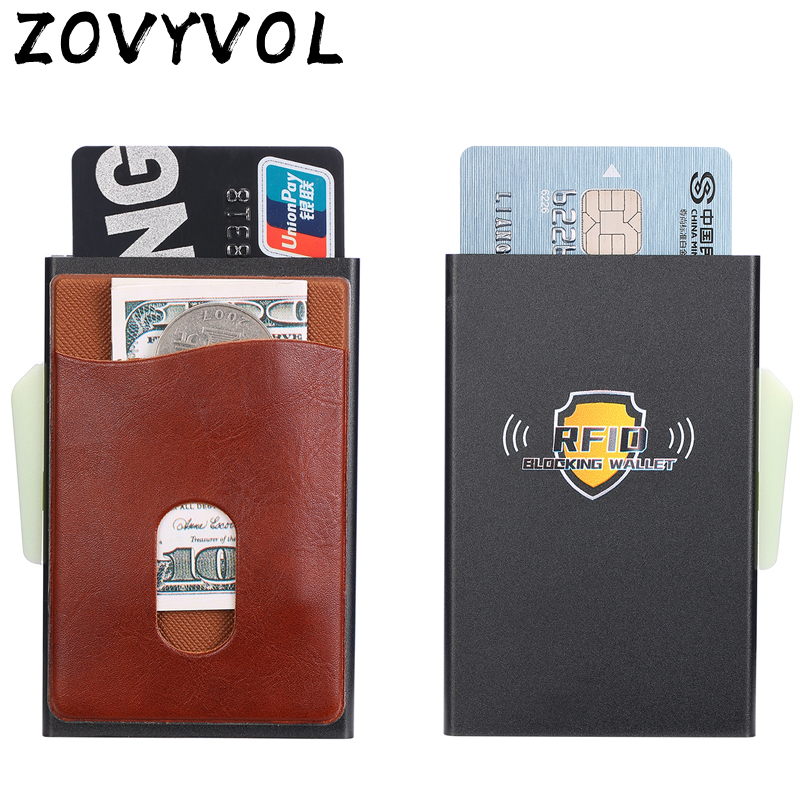 ZOVYVOL Metal Credit Card Holder Automatic Elastic Vintage Aluminum Wallet PU Leather Antitheft Blocking Wallet Pass Port Holder in Card ID Holders from Luggage Bags