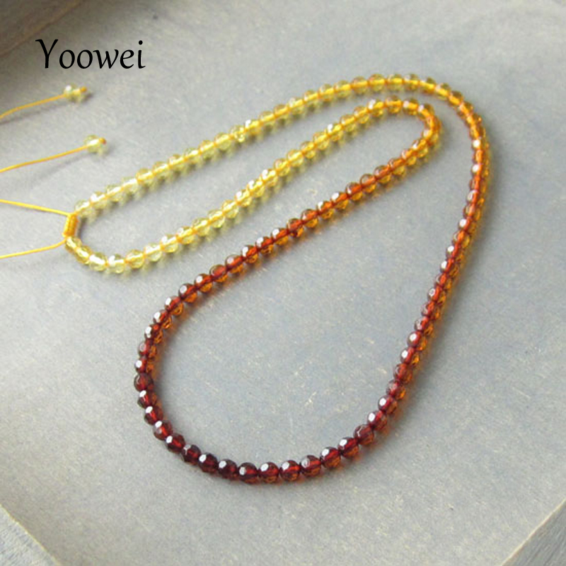 Yoowei Faceted Amber Necklace Jewelry Wholesale Genuine Baltic Natural Amber Beads Adjustable Chain Necklace diy Women Jewellery yoowei 4mm natural amber bracelet for women small beads no knots multilayered sweater chain necklace genuine long amber jewelry