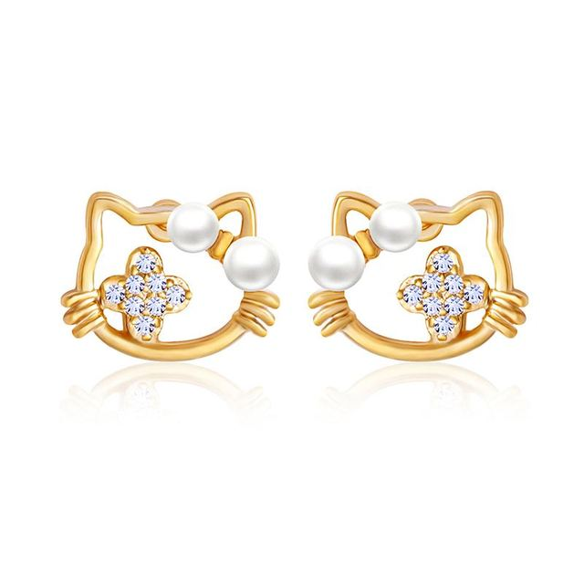 Cute Gold Cat Earrings For S Children Pearl Stud Animals Crystal New Year Gifts