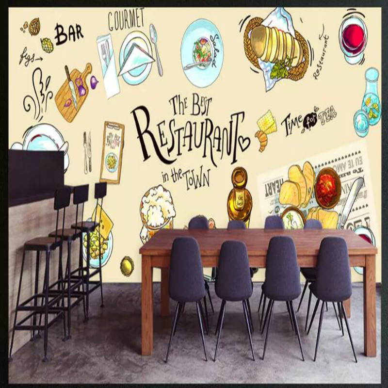 Blackboard Wallpaper Murals Food Wallpaper Murals Bistro: HD Hand Painted Meal Mural Wallpaper For Western