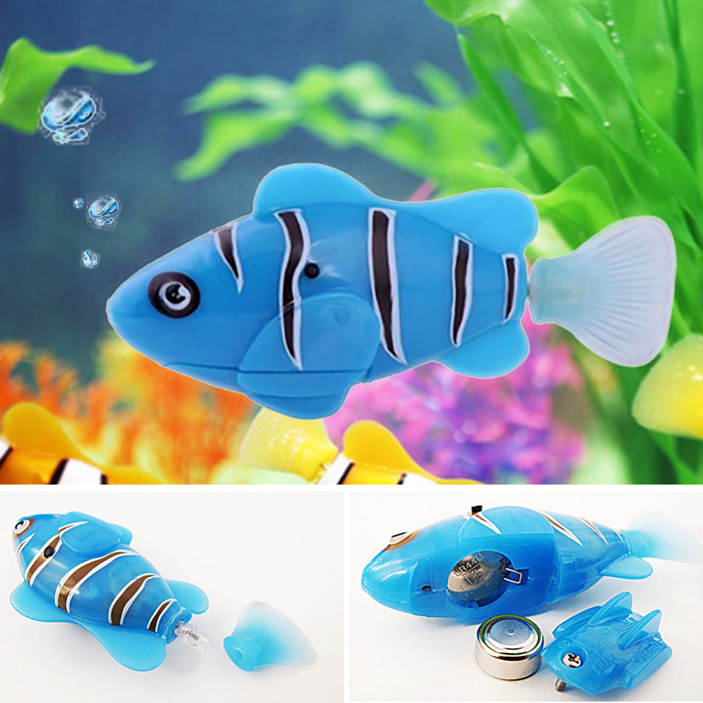 RC Fish Activated Battery Powered Robot Toy fish Robotic Pet 6 color funny water electronic robo fish activated battery power robo bath toy fish robotic pet for fishing tank decor fish toy