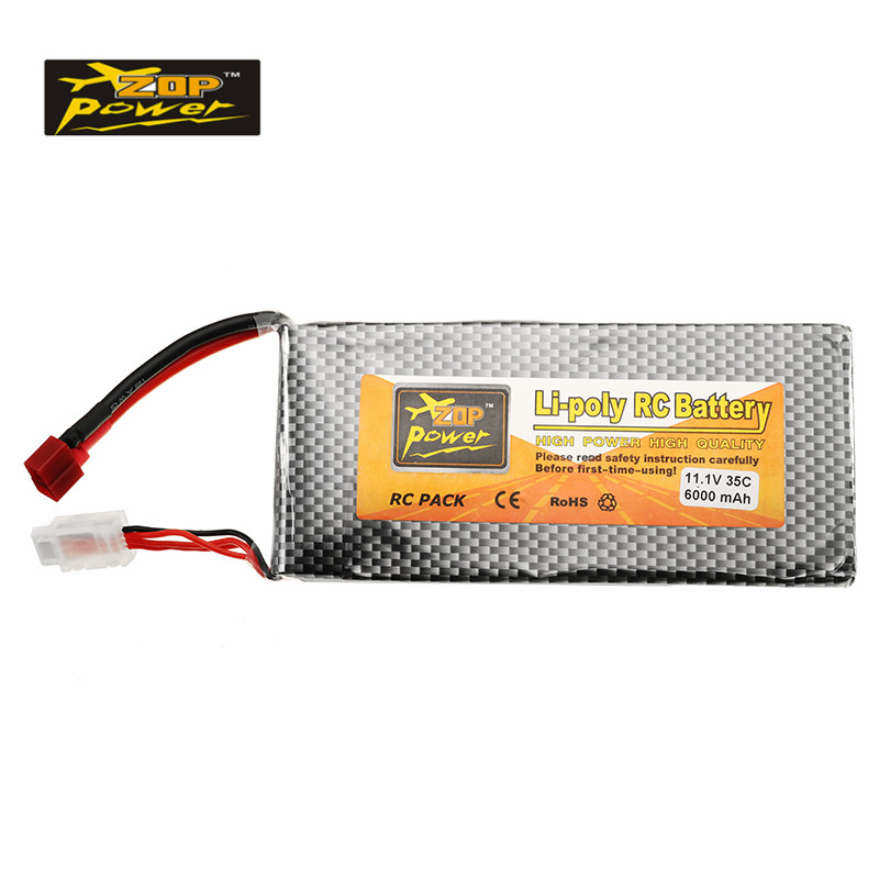 High Quality ZOP Power 11.1V 6000mah 35C 3S Lipo Battery T Plug for RC Quadcopter Car FPV Racing Drone Helicopter Spare Parts 2018 rechargeable zop power 7 4v 1000mah 2s 25c lipo battery jst plug connector for rc drone fpv quadcopter diy toys spare parts