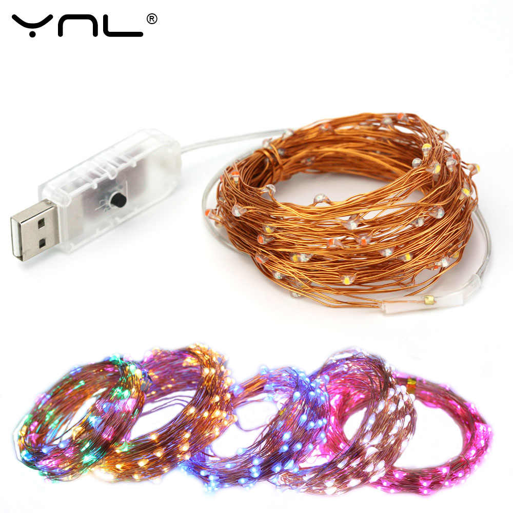 Christmas USB LED String Lights 8 Mode Copper Wire 10M 100 LEDs Waterproof Xmas Party Wedding Decoration Flasher Fairy Lights