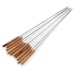 10Pcs Reusable BBQ Barbecue Skewers Roasting Needle Roasting Tools Brochette Tong Kebabe Skewers Stick For Outdoor Picnic Skewer