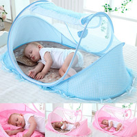 Burell Cute Mesh Newborn Baby Kids Portable Foldable Crib Netting Sleep Bed Mosquito Mesh Pillow Music