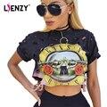 LIENZY GNR Camisetas Agujero Gradiente de Estilo Colorido de Moda de Verano Punk Rock Negro Imprimir Guns And Roses Vintage Ladies Crop Top