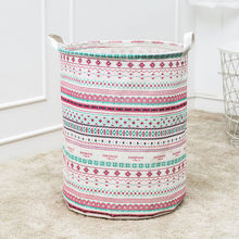 Triangle Printed Laundry Basket Waterproof Canvas Laundry Storage Basket Folding Storage Box Pink Triangle Clothes Organizer #Z(China)