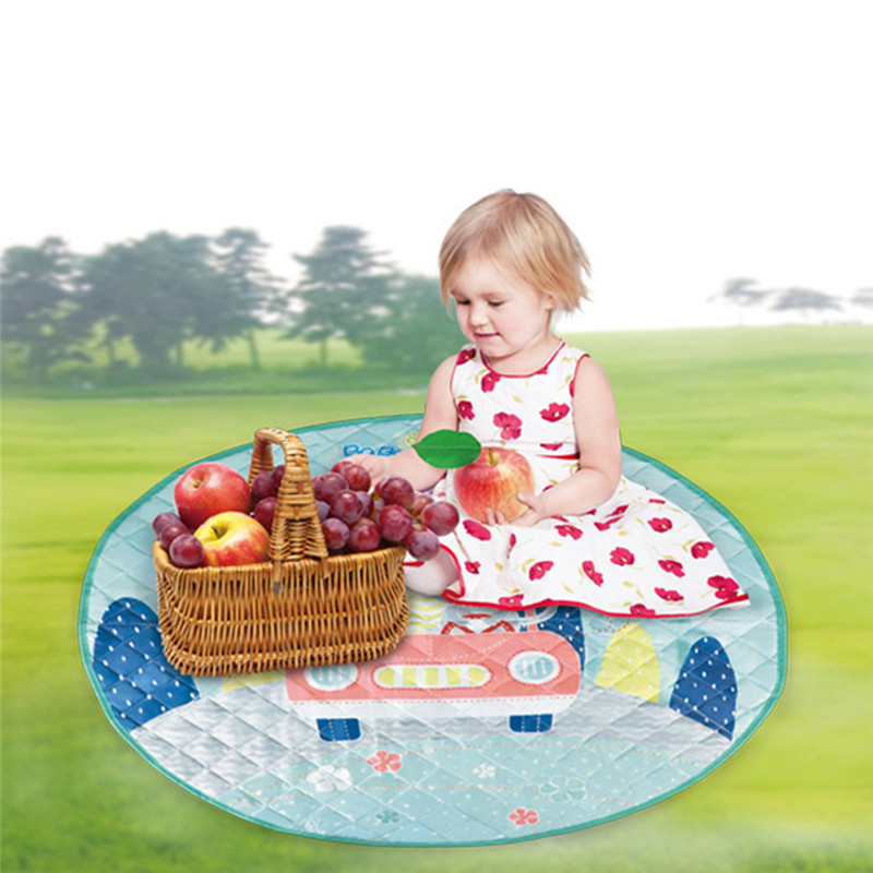 Washable Play Rugs: 110cm Baby Kids Play Mat Foldable Soft And Washable Rugs