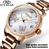 Barato Reloj Mecánico Tourbillon reloj automático para mujer reloj de lujo reloj femenino de acero inoxidable de oro rosa relojes para mujer