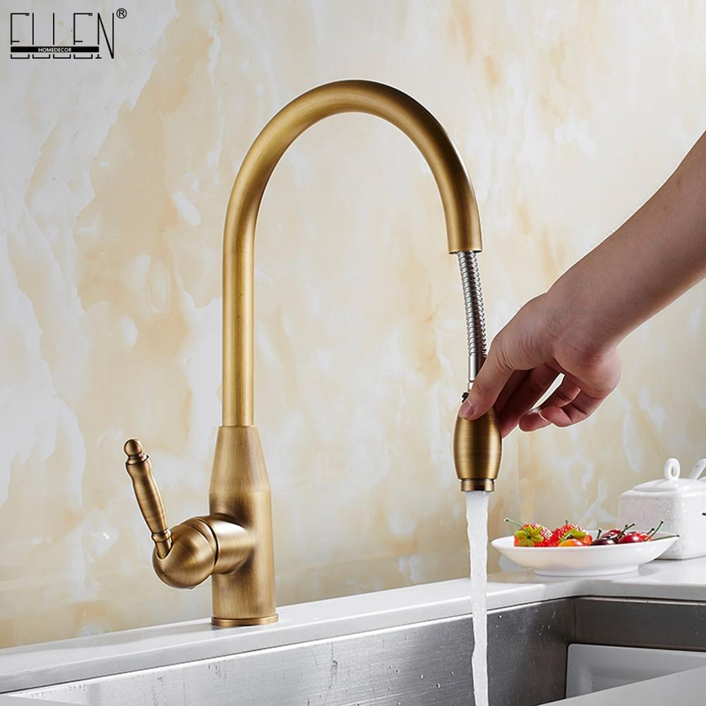 Pull Out Kitchen Faucet Hot Cold Water Mixer Brass Antique Bronze Deck Mounted Kitchen Sink Faucet  ELK1125