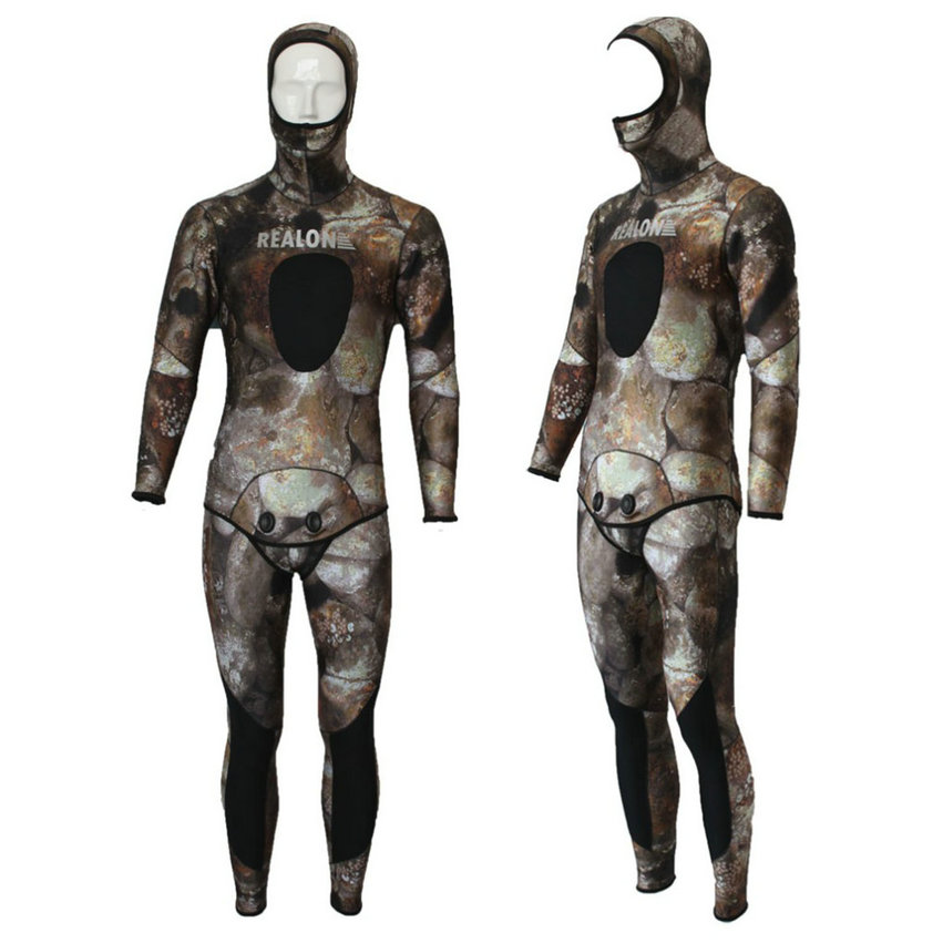 REALON Surfing Wetsuit 5mm Neoprene Free Diving Spearfishing Scuba Dive Suit Camo Snorkeling Body Women and Mens