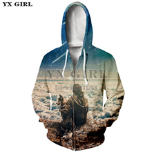 YX GIRL Drop shipping Astronautas Zipper Hoodies Striukė Vyrai / moterys Hoody Sweatshirt EUR dydis XS-5XL Pullover Tops Hip