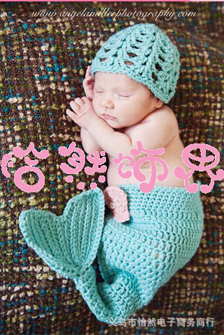 One set Knit Mermaid Handmade Photography Props Newborn Baby Animal Costume hat Knitted Infant Suit Cotton Beanies Crochet Caps