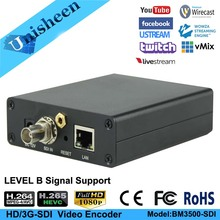 Unisheen H.265 H.264 HD 3G SDI Video Encoder Transmitter Youtube Facebook Vmix Wowza Wirecast live Broadcast wireless iptv