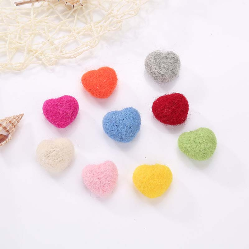 Handmade Needle Wool Felt Heart Christmas Hanging Decoration Home Party DIY Fashion Jewelry Hair Accessories Pendants 1PC