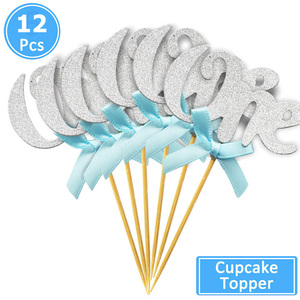 Image 4 - 12pcs First Happy Birthday Glitter Paper 1 Cupcake Toppers My 1st Party Decorations Kids One Year Baby Boy Girl Unicorn Supplies