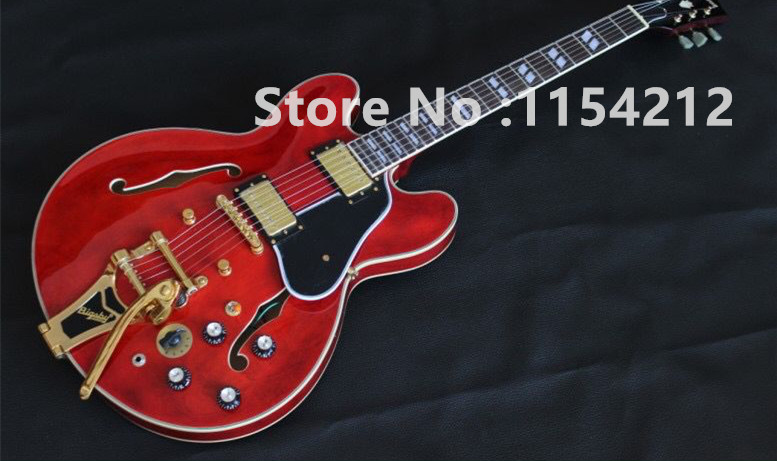 Vicers Custom 335 Jazz Electric Guitar  Semi Hollow Body Archtop Guitar with Bigsby Tremolo