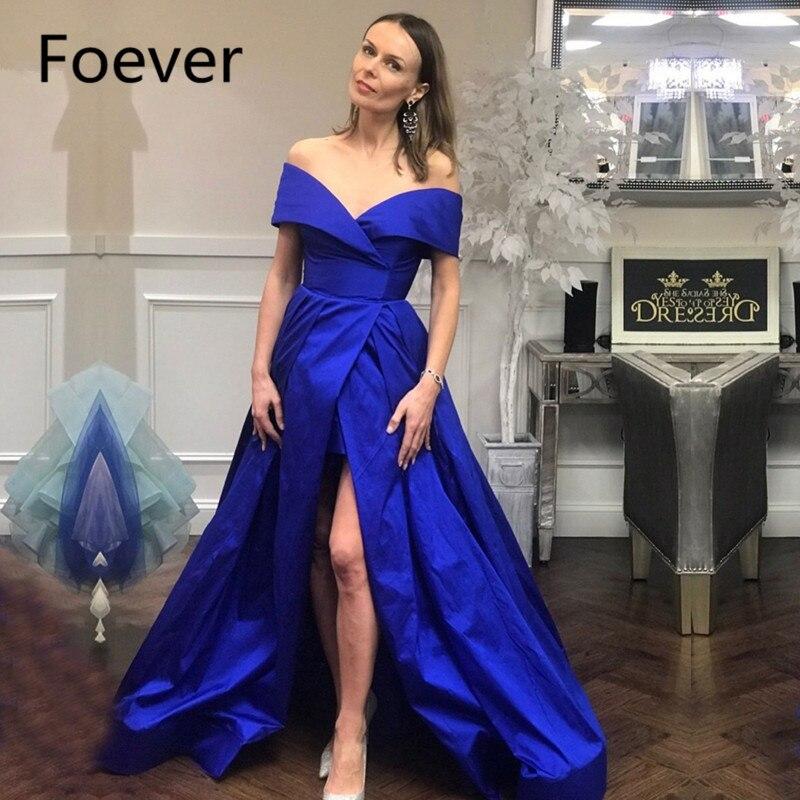 New Arrival Off the shoulder Royal Blue Long evening dresses 2019 V Neck Sexy Slit side Simple Formal dress abiye robe de soiree