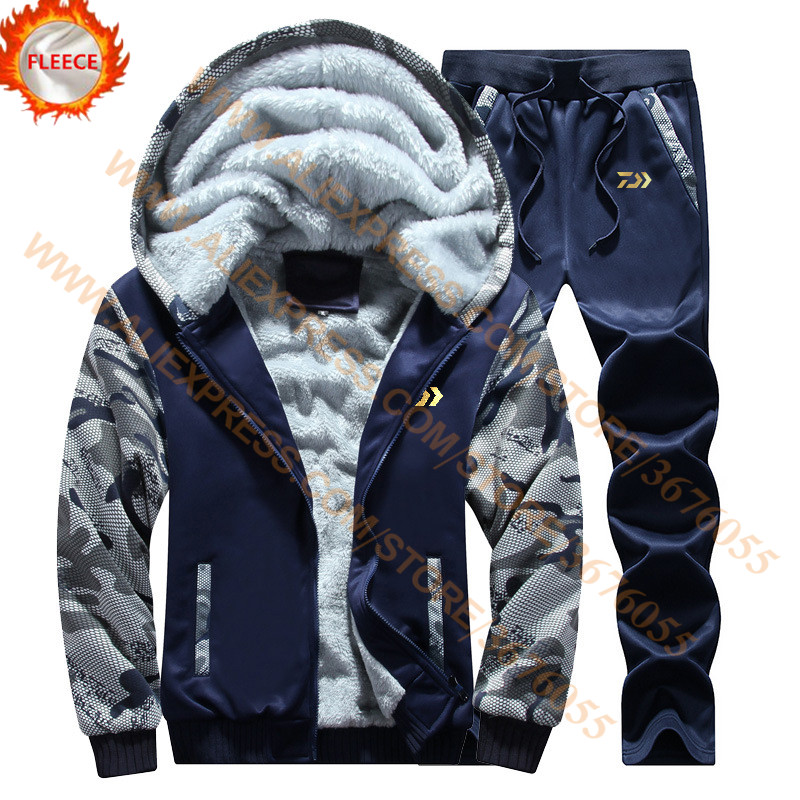 DAIWA Fleece Fishing Clothing Set Spring Autumn Outdoor Sport Camouflage Hiking Fishing Shirt And Pants Men Fishing Jacket