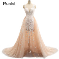 Real Photo Wedding Dresses With Removable Train Mermaid Flower Wedding Gown Pink Bridal Dresses Vestido De