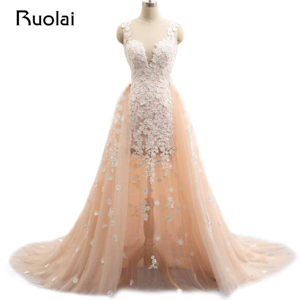 Foto reale Abiti Da Sposa con Smontabile del Treno Della Sirena Del Fiore Abito Da Sposa Rosa Abiti Da Sposa Vestido de Novia 2019 WS12