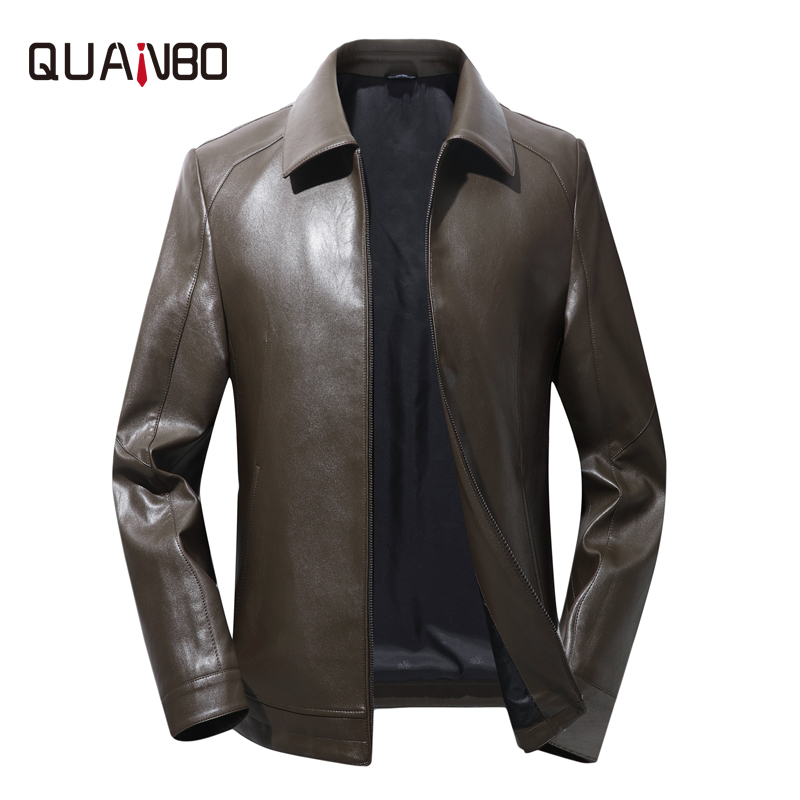 QUANBO 2019 New High Quality Motorcycle Leather Jacket Mens Turn Collar Casual Coats Spring Autumn Men Brown Leather Jacket