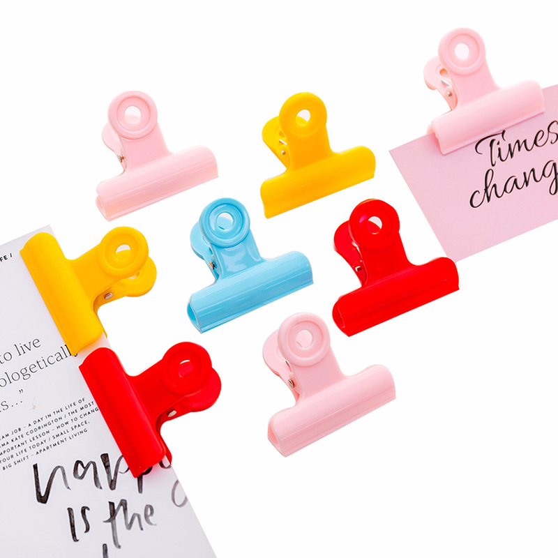 Cute Plastic Binder Clips Yellow Blue Red Pink Paper Clips Folder Notes Letter Paper Clip Clamp School Office Supplies