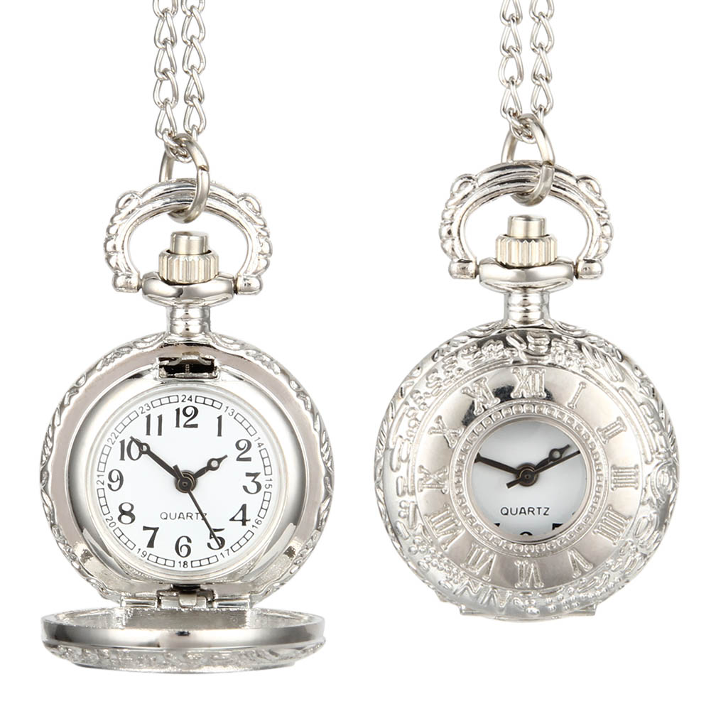 Fashion Vintage Pocket Watch Alloy Roman Number Dual Time Display Clock Necklace Chain Watches Birthday Gifts LL@17 pocket fob watch roman numerals clock vintage quartz watches pendant necklace antique chain jewelry gifts for women men ll 17