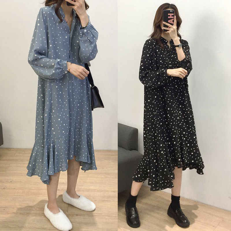 2019 New women Spring and summer dress casual dot long sleeve loose party dress V-neck robe femme