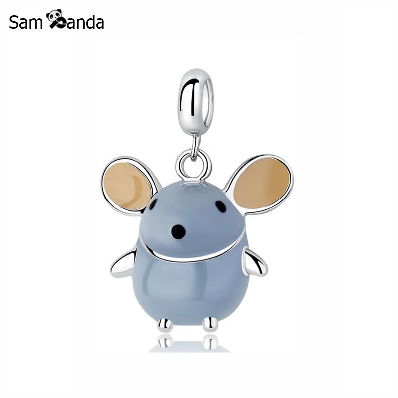 Real 100% 925 Sterling Silver Bead Charm Lovely Mouse Pendant Charms Fit Pandora Bracelets & Bangles For Women DIY Gift JewelryReal 100% 925 Sterling Silver Bead Charm Lovely Mouse Pendant Charms Fit Pandora Bracelets & Bangles For Women DIY Gift Jewelry