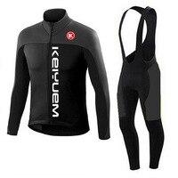 Winter Thermal Fleece Pro Team Cycling Jersey Set Long Sleeve Bicycle Bike Clothing Cycle Bib Pantalones