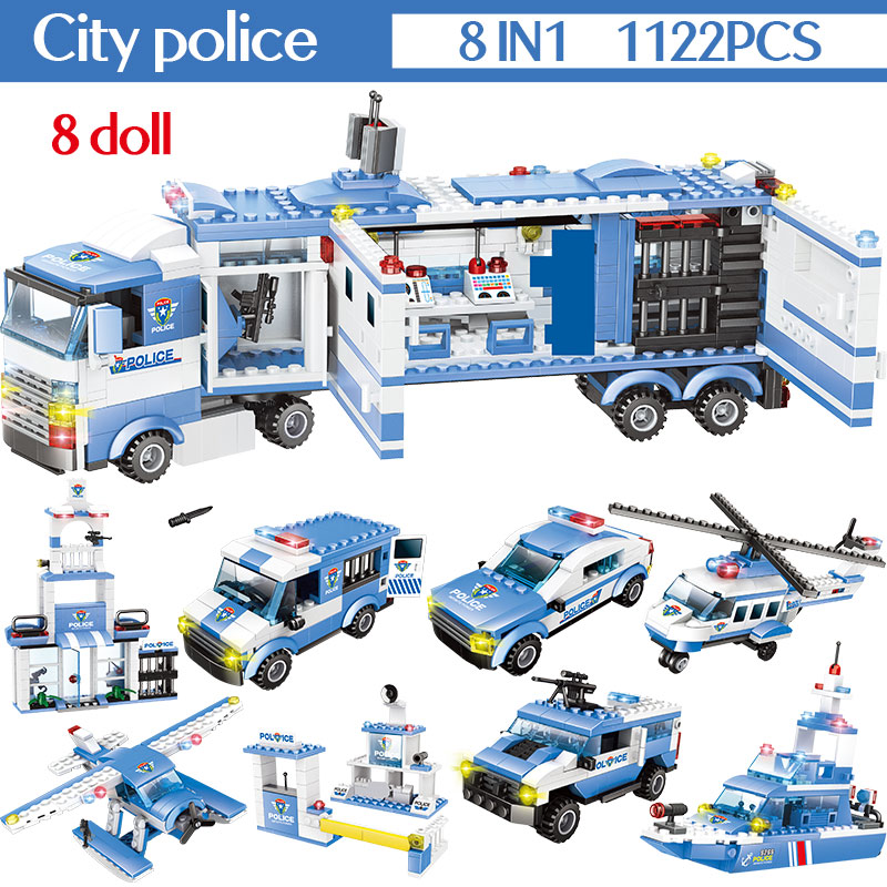 1102 1122 pces cidade policia estacao blocos 01