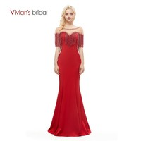 Vivian's Bridal Fashion Beading Tassel Red Mermaid Evening Dress Floor length With Jacket Illusion Mesh Red Women Formal Gown