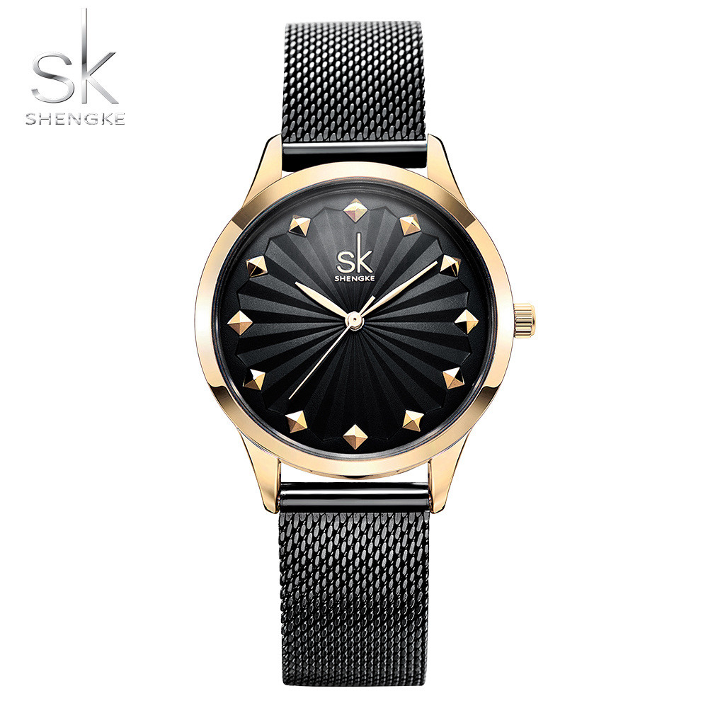 Shengke Women Watch New Quartz Top Quality Luxury Fashion Wristwatches Ladies Gift Relogio Feminino Milan Mesh Band Lady Watch 2017 new fashion tai chi cat watch casual leather women wristwatches quartz watch relogio feminino gift drop shipping