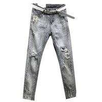 2019 new fashion women jeans high waist smoke gray hole rhinestone tassel beaded ankle length skinny jeans